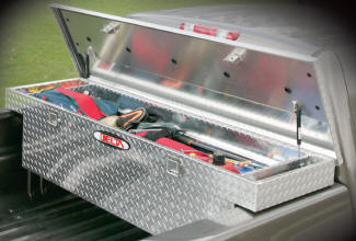 Delta aluminum cross over tool boxes