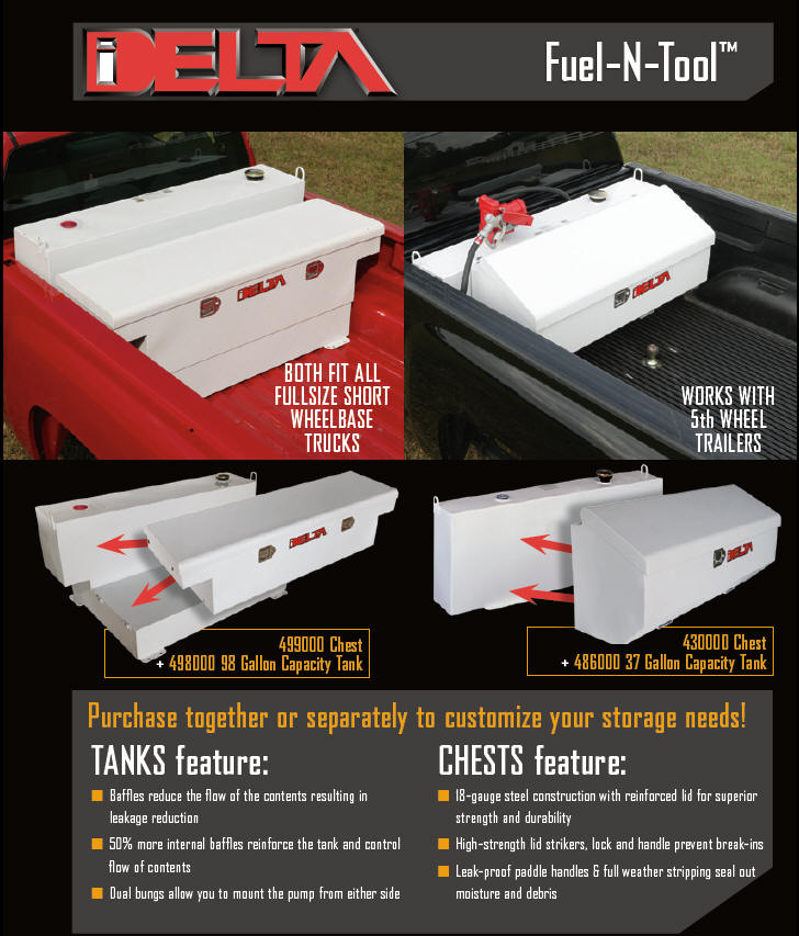 Delta fuel and tool truck toolbox and transfer tank combination