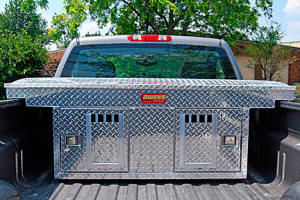 aluminum crossover double dog crate with top storage