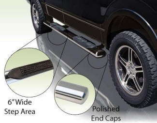 Six Inch Extra Wide Oval Truck Tube Steps