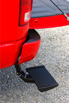 Side-angle movement gives access to the step even with the tailgate down.